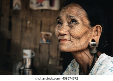 Kyee Chaung, Myanmar - May 30, 2016: Portrait of old woman with facial tattoos in Chin villages, Mrauk U region