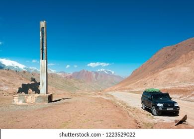 Kygyzstan-Tajikistan Border - Aug 20 2018: Kyzylart Pass (4280m) on The Pamir Highway (M41 Highway) in border of Kygyzstan - Tajikistan, Pamir mountains.