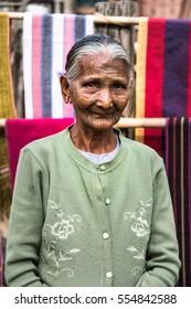 Kyi Chaung, Mrauk U, Rakhine state, Myanmar - Jan 3, 2017: An old Chin woman with tattooed face in Chin village.
