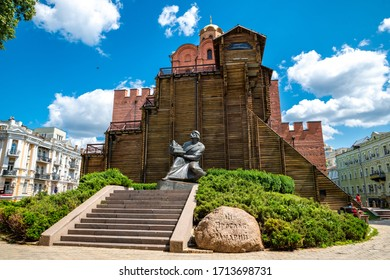 KYIV - 2019: The sculpture of the Gran Prince Yaroslav the Wise, one of the most honoured ruler of the medieval period at the restored Golden Gates of Kyiv (Zoloti Vorota)