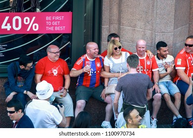 KYIV, UKRAINE—MAY 26, 2018: UEFA Champions League Final CUP 2018 Football fans supporters before the UEFA champions' league match betwen Real Madrid and Liverpool. Final game take place May 26, 2018.