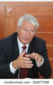 KYIV - AUG 10: Thorbjorn Jagland, Secretary-General of the Council of Europe, during an interview at the Ministry of Foreign Affairs, August 10, 2012 in Kyiv, Ukraine.