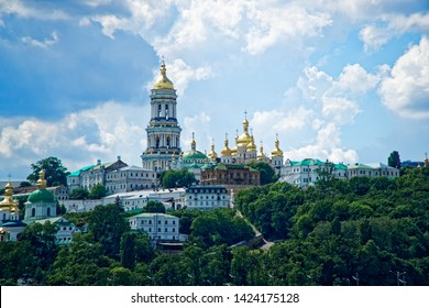 Kyiv city scape with with Kiev Pechersk Lavra monastery and the Motherland Monument, Ukraine. Kiev Pechersk Lavra or the Kiev Monastery of the Caves