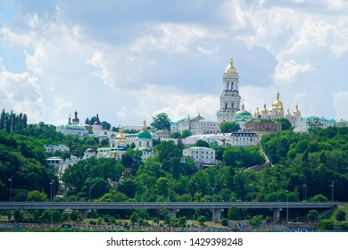 Kyiv cityscape with with Kiev Pechersk Lavra monastery and the Motherland Monument, Ukraine. Kiev Pechersk Lavra or the Kiev Monastery of the Caves