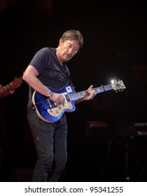 """KYIV - FEBRUARY 14: Chris Rea performs as part of the tour """"Santo Spirito Blues"""", on stage at """"Ukraine"""" Palace on February 14, 2012 in Kyiv, Ukraine."""