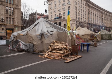 Kyiv - February 23: Camp of protesters on Maidan, Euromaidan. Ukrainian protests, February 23, 2014 in Kyiv