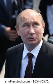 KYIV - JUL 27: President of Russia Vladimir Putin attend a ceremony marking the 1,025th anniversary of the Christianization of Kievan Rus in Kiev, Ukraine. July 27, 2013.