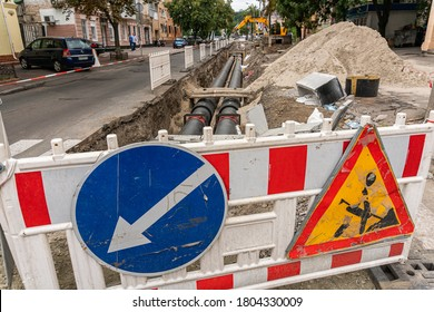 Kyiv (Kiev), Ukraine - 13 August, 2020: Replacement of old rusty pipes (plumbing) for the new ones on the street, serious and extensive work which causes a lot of temporary inconveniences