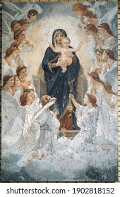 KYIV, KIEV, UKRAINE - 25 September 2020: Icon of the Virgin Mary with the Infant Christ surrounded by Angels. The concept of Orthodoxy and religion, fine arts. Traditions of Orthodoxy in Ukraine.