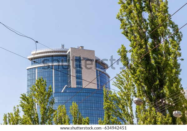 Kyiv - May 05: The building of Hilton hotel in the city center. Kyiv, Ukraine, May 05, 2017