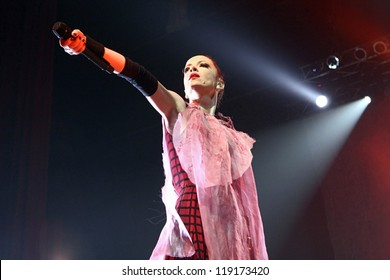 KYIV - NOVEMBER 12: Shirley Manson from GARBAGE performs as part of the 2012 tour, on stage at Sport`s Palace on November 12, 2012 in Kyiv, Ukraine.
