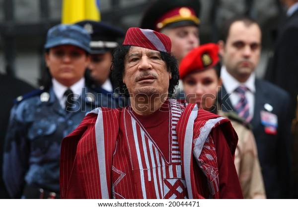 Kyiv - November 4, 2008: President of Libya's Muammar Gaddafi during a state visit to Ukraine, November 4, 2008 in Kyiv, Ukraine.