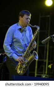 "KYIV - october 17: Saxophonist Chris Potter from ""Dave Holland Quintet"" at ""Jazz in Kiev"" fest october 17, 2008  in Kyiv, Ukraine."
