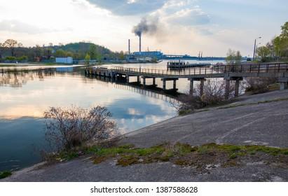 Kyiv region , Ukraine - April 21, 2019: View of the Tripilska TPP from the bank of the Dnieper River in the city of Ukrainka, Kiev region, Ukraine