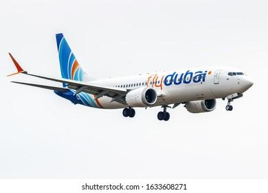 Kyiv, UKKK Airport / Ukraine - 2018.04.17: A6-FMB Boeing 737 MAX 8 FlyDubai Airways
