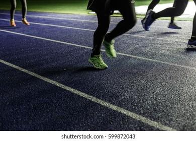 Kyiv, Ukraine - 02 March, 2017: NSC Olimpiiskiy. Central soccer stadium in Ukraine. Open training of runners