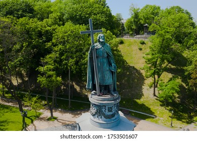 Kyiv / Ukraine - 06.10.2020: Front view of the Saint Volodymyr monument standing on St.Volodymyr Hill.