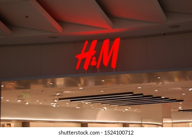 Kyiv, Ukraine, 09/24/2019. H&M store of international chain of mass fashion retail clothing stores brand logo in a large shopping mall
