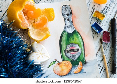 Kyiv / Ukraine - 11/25/2018: A hand drawn picture of The Martini Asti bottle with a tangerine on a wooden table. Winter holidays greeting card.Luxuri sparkling wine bottle watercolor painting.