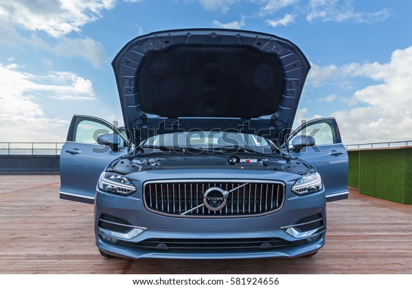 Kyiv Ukraine 14 November, 2016 Car Volvo S90 on the roof of auto of parking