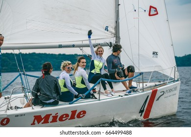 Kyiv, Ukraine - 17h, June 2017: Sailing competition on Yacht class Platu 25. Second Cup of KRYC on Kyiv sea