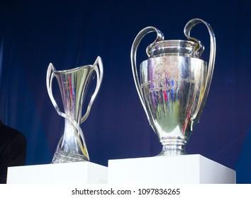 Kyiv, Ukraine 21 april 2018. UEFA Champions League cup (man, woman) presentation before Champions League final