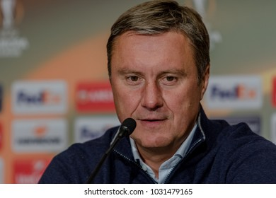 Kyiv, Ukraine - 22 February, 2018: Head coach of FC Dynamo Kyiv - Alexander Khatskevich answers questions from journalists after the match of the Europa League at the NSC Olympiyskiy Stadium