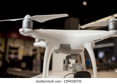 Kyiv , Ukraine - 24 March 2018 : white quadrocopter in the store. white Drone quadrocopter  with high resolution digital camera.