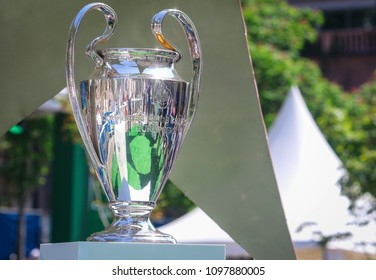KYIV, UKRAINE – 24 MAY, 2018: Champions League Cup during final match of the UEFA Women's Champions League VfL Wolfsburg - Lyon at the Valeriy Lobanovskyi Dynamo Stadium in Kyiv