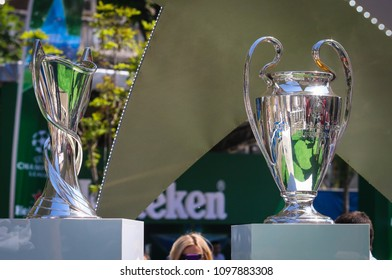 KYIV, UKRAINE – 24 MAY, 2018: Champions Cup UEFA (among women and men) during final match of the UEFA Women's Champions League VfL Wolfsburg - Lyon at the Valeriy Lobanovskyi Dynamo Stadium in Kyiv