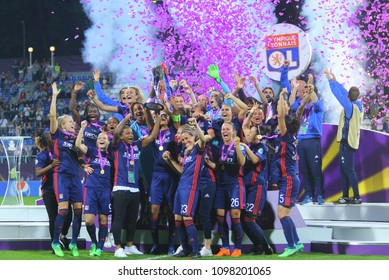 KYIV, UKRAINE – 24 MAY, 2018: Lyon footballers rejoice in victory during the final of the UEFA Women's Champions League VfL Wolfsburg – Lyon at the Valeriy Lobanovskyi Dynamo Stadium
