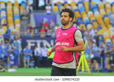 KYIV, UKRAINE – 25 MAY, 2018: Egyptian professional footballer Mohamed Salah runs at a time final match of the UEFA Champions League