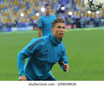 KYIV, UKRAINE – 25 MAY, 2018: Cristiano Ronaldo runs at a time final match of the UEFA Champions League