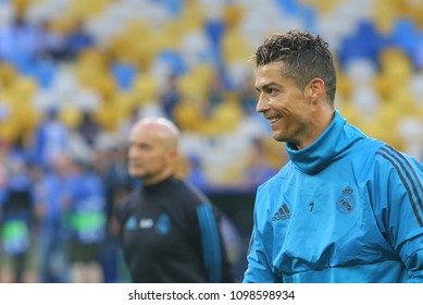 KYIV, UKRAINE – 25 MAY, 2018: Cristiano Ronaldo runs at a time final match of the UEFA Women's Champions League