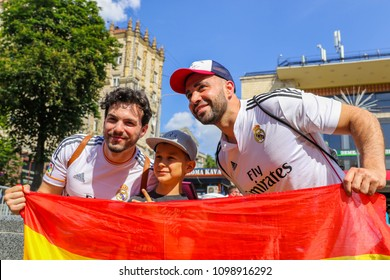 KYIV, UKRAINE – 26 MAY, 2018: Fans of Real Madrid before the start UEFA Champions League Final between Liverpool and Real Madrid at Olimpiyskiy National Sports Complex