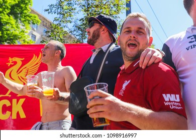 KYIV, UKRAINE – 26 MAY, 2018: Fans of FC Liverpool before the start UEFA Champions League Final between Liverpool and Real Madrid at Olimpiyskiy National Sports Complex