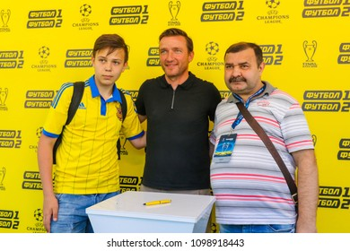 KYIV, UKRAINE – 26 MAY, 2018: Czech former footballer who played as a midfielder Vladimir Smicer before the start UEFA Champions League Final between Liverpool and Real Madrid