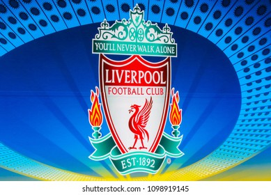 KYIV, UKRAINE – 26 MAY, 2018: The emblem of Liverpool FC on the billboard before the start UEFA Champions League Final between Liverpool and Real Madrid at Olimpiyskiy National Sports Complex