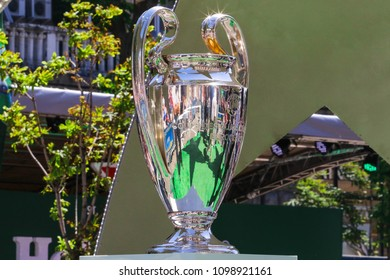 KYIV, UKRAINE – 26 MAY, 2018: Champions League Cup before the start UEFA Champions League Final between Liverpool and Real Madrid at Olimpiyskiy National Sports Complex