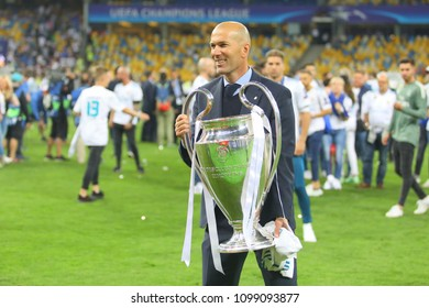 KYIV, UKRAINE – 26 MAY, 2018: French retired professional footballer and current manager Zinedine Zidane during the final match UEFA Champions League between Liverpool and Real Madrid