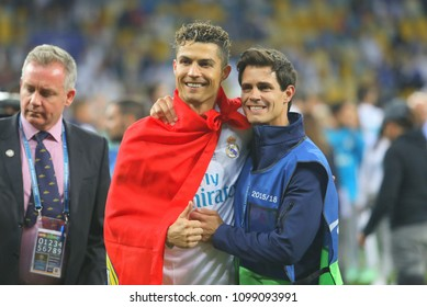 KYIV, UKRAINE – 26 MAY, 2018:  Portuguese professional footballer Cristiano Ronaldo during the final match UEFA Champions League between Liverpool and Real Madrid