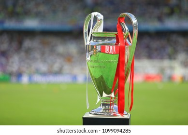 KYIV, UKRAINE – 26 MAY, 2018: Trophy Cup UEFA Champions League during the final match UEFA Champions League between Liverpool and Real Madrid at Olimpiyskiy National Sports Complex