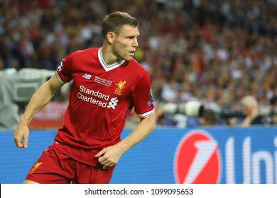 KYIV, UKRAINE – 26 MAY, 2018: English professional footballer James Milner during the final match UEFA Champions League between Liverpool and Real Madrid