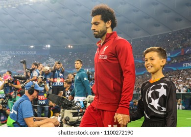 KYIV, UKRAINE – 26 MAY, 2018: Egyptian professional footballer Mohamed Salah  during the final match UEFA Champions League between Liverpool and Real Madrid