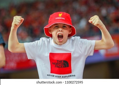 KYIV, UKRAINE – 26 MAY, 2018: Fans of Liverpool FC during the final match UEFA Champions League between Liverpool and Real Madrid