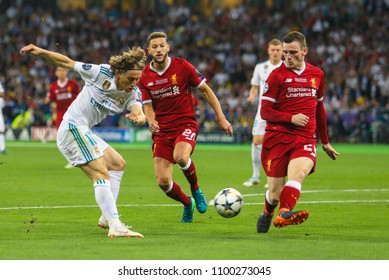 KYIV, UKRAINE – 26 MAY, 2018: Croatian professional footballer Luka Modric (L) during the final match UEFA Champions League between Liverpool and Real Madrid