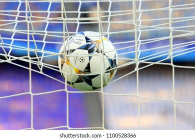 KYIV, UKRAINE – 26 MAY, 2018: The UEFA Champions League ball is on the net of the goal during the final match UEFA Champions League between Liverpool and Real Madrid