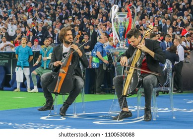 KYIV, UKRAINE – 26 MAY, 2018: Croatian cellist duo 2Cellos during the final match UEFA Champions League between Liverpool and Real Madrid