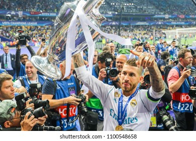 KYIV, UKRAINE – 26 MAY, 2018: Spanish professional footballer Sergio Ramos during the final match UEFA Champions League between Liverpool and Real Madrid at Olimpiyskiy National Sports Complex
