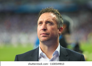 KYIV, UKRAINE – 26 MAY, 2018: English former professional footballer Robbie Fowler during the final match UEFA Champions League between Liverpool and Real Madrid at Olimpiyskiy National Sports Complex